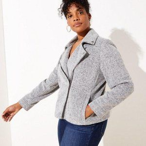 NWT LOFT PLUS Textured Knit Moto Jacket